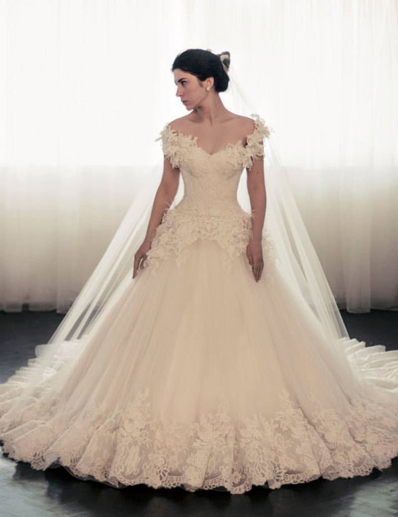 teranicouture wedding dress with feathers