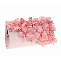 Women Clutch Bag Satin Rose Solid Color Handbag Evening Bags Wedding Portable Handbags High Grade Diamonds Decor Shoulder Bags