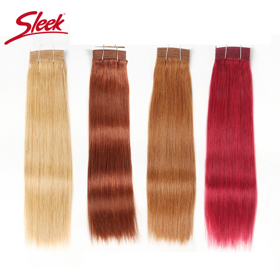 Sleek Double Drawn Brazilian Silky Straight Hair Human Hair Weave Bundles Remy 1 Pc Only 27/30/ 6/8/ Red/ 99J Hair Bundles(China)