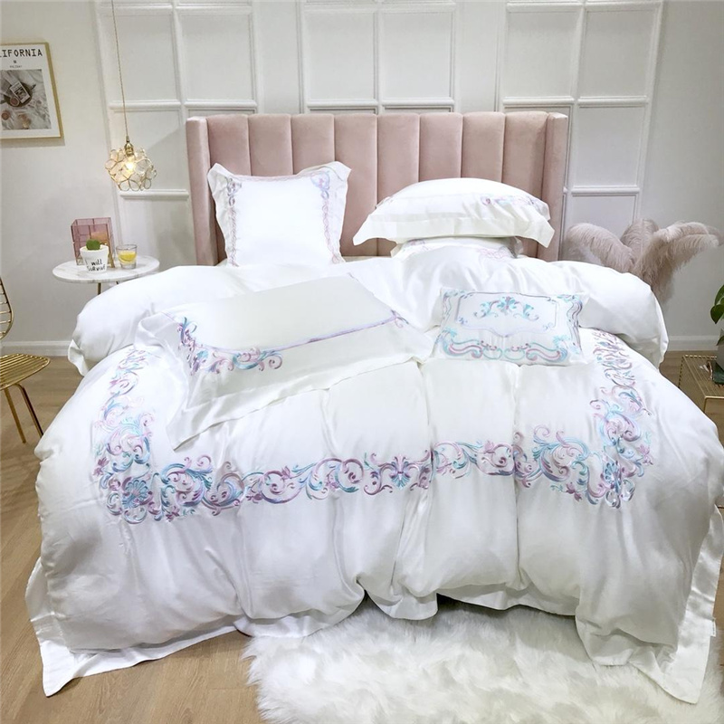 Luxury 60S Tencel Colorful classics Bedding Set Embroidery Silky Duvet Cover Sets Bed Sheet Pillowcases Queen King Size 4/6/7PcsLuxury 60S Tencel Colorful classics Bedding Set Embroidery Silky Duvet Cover Sets Bed Sheet Pillowcases Queen King Size 4/6/7Pcs