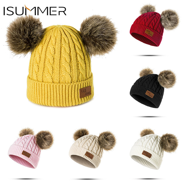 Bebé doble pompones sombrero para los niños sombrero de invierno para niños  niñas de punto gorros 792499c7077