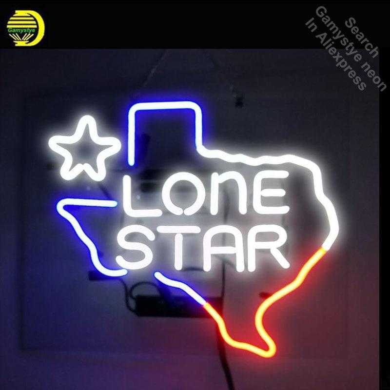 Neon Sign Texas Lone Star Neon Light Sign Beer Pub Restaurant Store Display Arcade signs handcraft Publicidad lamps 17x14 inch