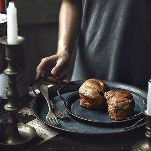 Metal-Plate Handles Storage Bread-Tray Home-Decoration Round Restaurant European Vintage