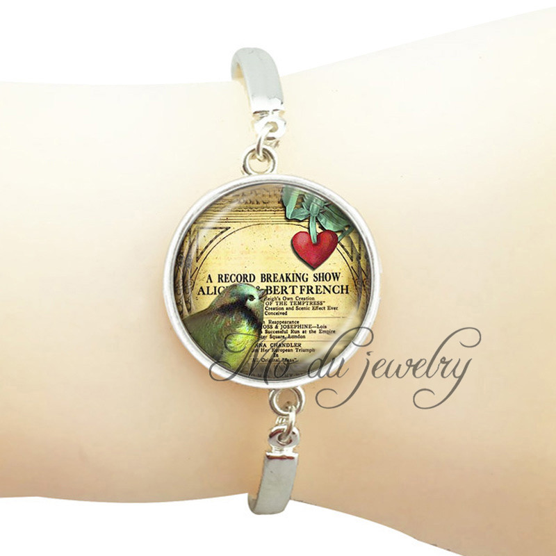 35e420048 Cúpula de vidro pássaro pulseira envoltório rodada banhado a prata pulseira  de metal da arte da foto animal jóias presentes para o amante do pássaro de  ...