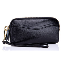 hot deal buy new genuine leather double zipper wristlet clutches women black day clutches party purse mobile phone bag practical large wallet