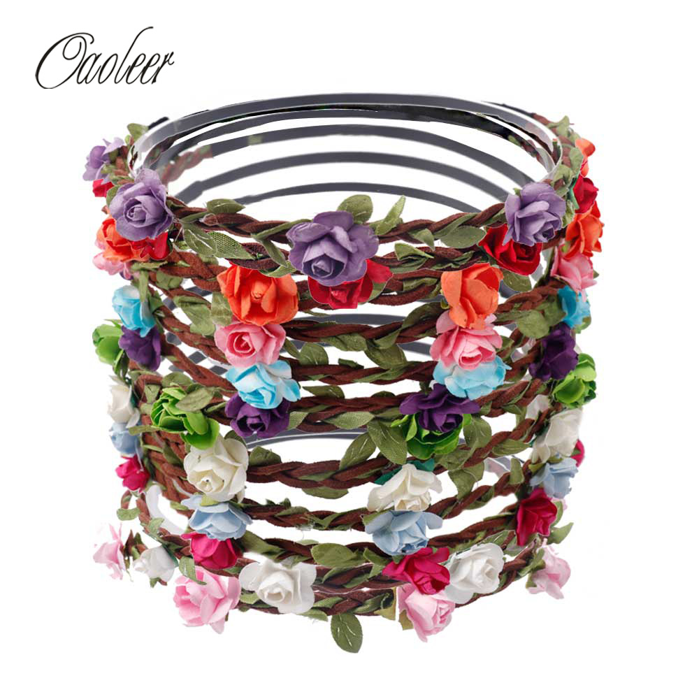6pcs/lot Women Bride Flower Headband Bohemian Style Rose Flower Crown Hairband Ladies Elastic Beach Hair Accessories 6pcs/lot