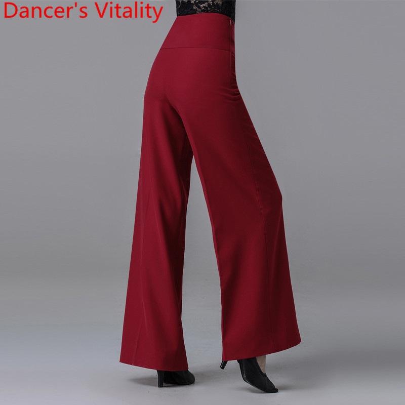 New Modern Latin Ballroom Dance Women Long Loose Pants Practice Trousers Black Red 2 Colors National Standard Waltz Jazz Clothes 3