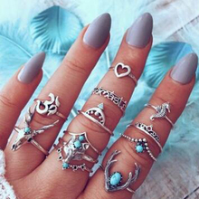Tocona Bohemia Deer Fox Bull Head Heart Blue Rhinestone Rings Set for Women Silver Knuckle Ring Sets Jewelry 10 pcs/set 7099