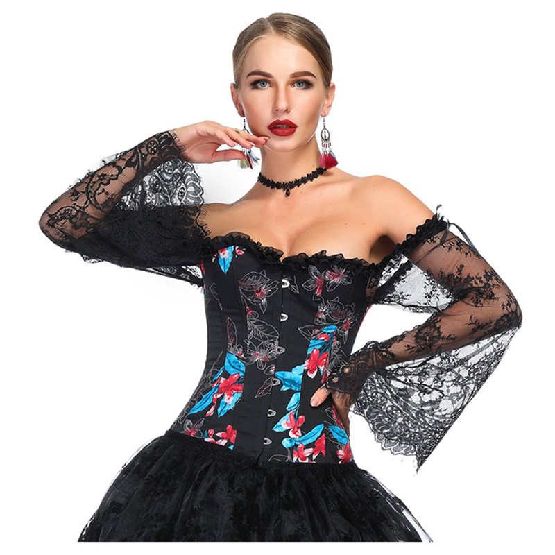 Black Floral Print Lace Flare Sleeve Vintage   Bustier   Femme Sexy   Corset   Top Victorian Gothic Clothing Burlesque Costume Women