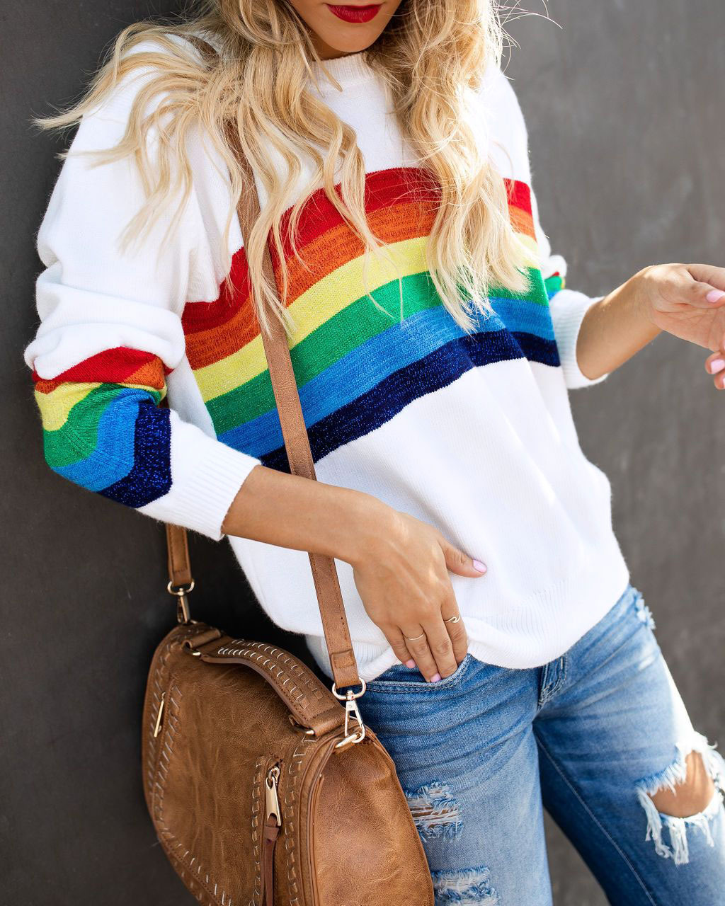Colorful Rainbow Striped Winter Knitted Sweaters Women Harajuku Long Sleeve White Pullovers Tops Autumn Femme Jumper 2019