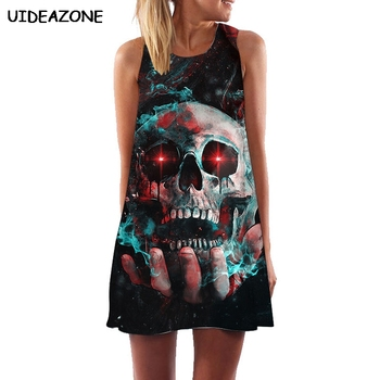 Vestidos De Festa Skull Dresses For Women Casual Sleeveless Dress Character Summer Beach Dress Robe Femme Ete 2019