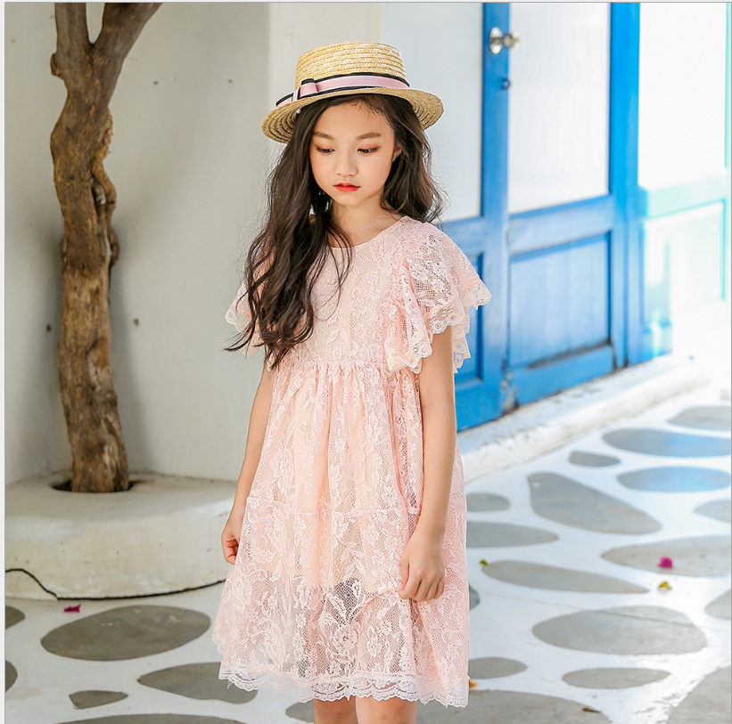 4-13Y Elegant Girl Dress 2019 Girls Summer Fashion Pink Fly Sleeve Lace  Party Tutu 5814296339ec