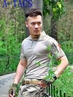 الصيف outdoors الصيد الجيش التكتيكية العسكرية التمويه تي شيرت الرجال تنفس سريعة جاف الرياضة كامو في قميص