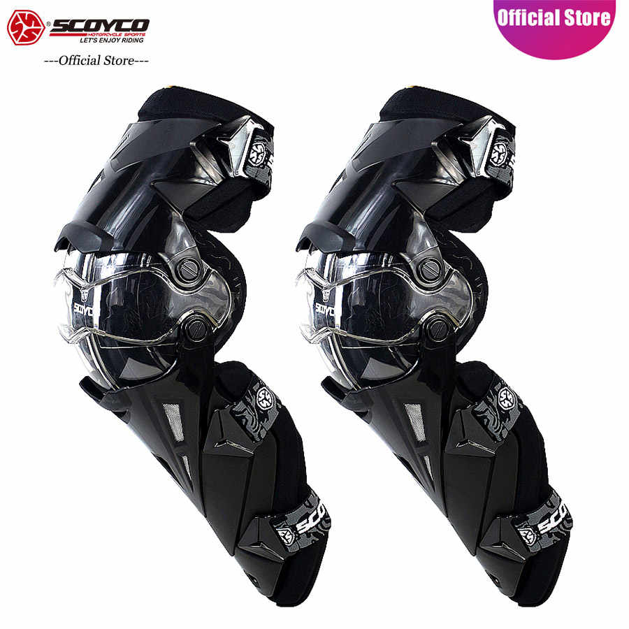 SCOYCO Motorcycle Knee Protector Hard Collision Avoidance Motocross Motorbike Knee Protector Supportive Cycling Knee Shin Guard