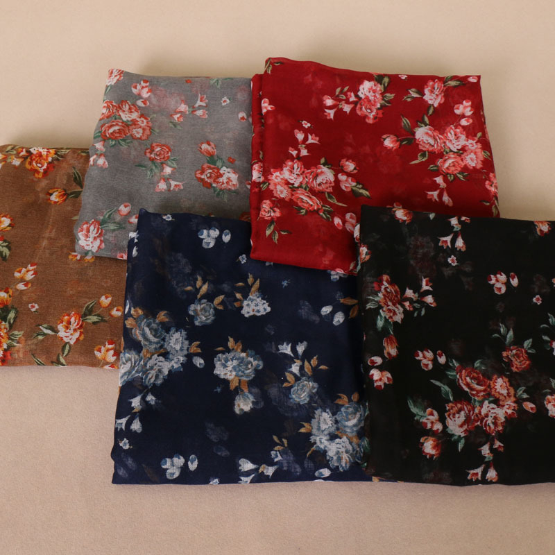 2019 Autumn Winter Women Small Polka Floral Pattern Viscose Shawls Muslim Hijab Wraps Headband Vintage Long Soft Scarves/scarf