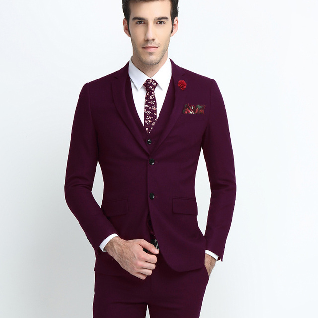 Wine Red Black Smart Casual Business Suit Slim Fit For Men Groom