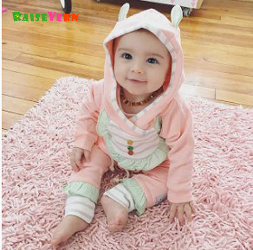 Raisevern 2017 Spring And Autumn New Hoodie Infant Cotton Pink Sweater Long Sleeves Sweater + Pants Set Toddler Girl Clothing inc international concepts women s long sleeves cotton blouse 4 candy pink
