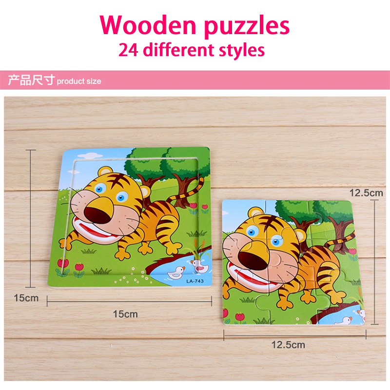 24 stilovi Životinje Drvene 3d Puzzle Dječji Obrazovne igračke - Igre i zagonetke - Foto 5