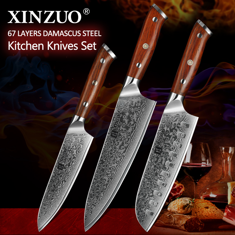 XINZUO 3PCS Pro Kitchen Knife Sets Japanese forged Damascus Steel Chef Santoku Knives Stainless Steel Rosewood Handle knife ChefXINZUO 3PCS Pro Kitchen Knife Sets Japanese forged Damascus Steel Chef Santoku Knives Stainless Steel Rosewood Handle knife Chef