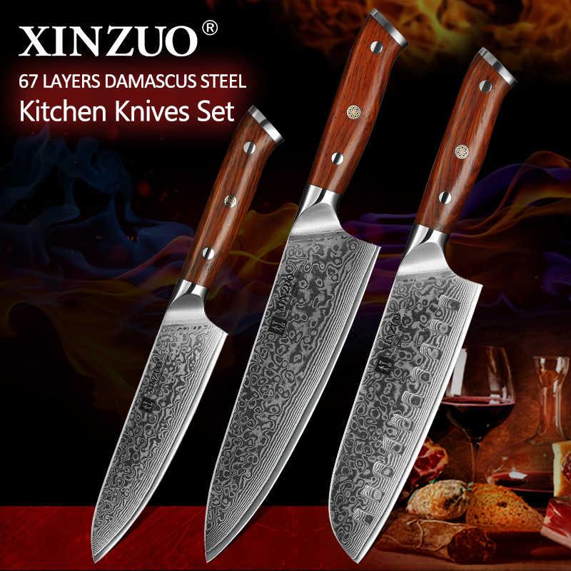 Xinzuo 3 Pcs Pro Set di Coltelli da Cucina Giapponese Forgiato in Acciaio di Damasco Chef Santoku Coltelli in Acciaio Inox in Legno di Palissandro Manico Della Lama Del Cuoco Unico