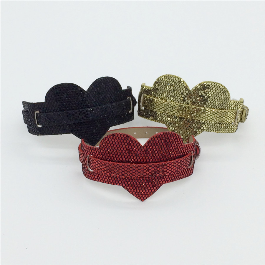 Sales 8MM Two Levels PU Leather Heart Paillette Wristband Bracelet Mixed Color Fit 8MM Slide Letters /Slide Charms WB29