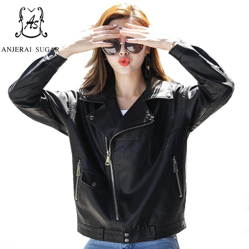 2017 Autumn PU   leather   jacket women Faux   Leather   Zipper pocket female mujer invierno big size motorcycle Casual Loose coat