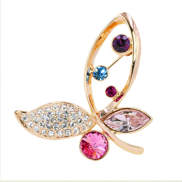 B154583 Luxurious elegant colors crystal butterfly brooch zinc aloy rose gold plated with Austria crystal fashion women jewelry