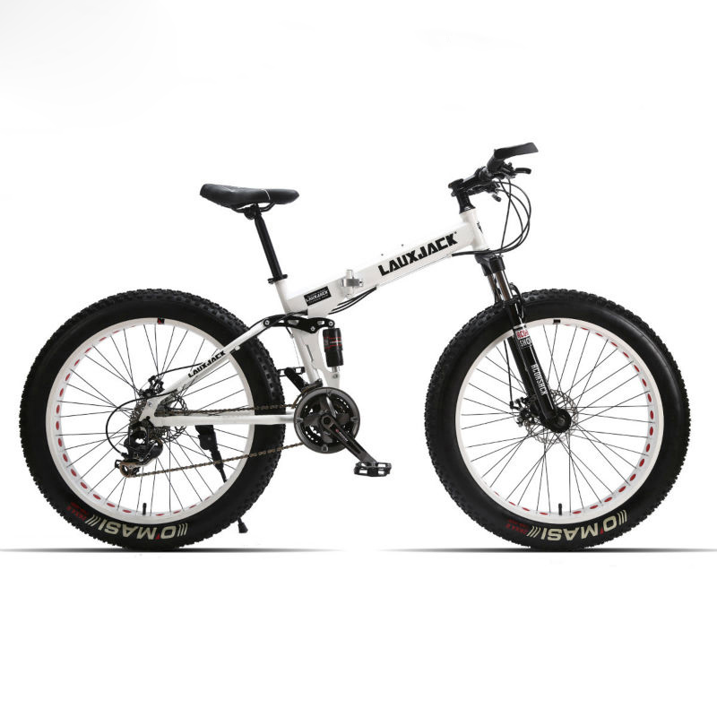 LAUXJACK Fat Bike Full Suspension Steel Foldable Frame 24 Speed Shimano Mechanic Brake 26 x4 0