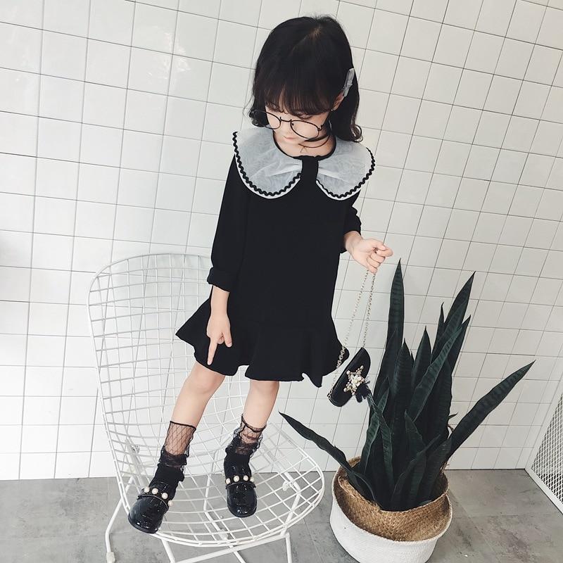Kid Baby Girls Autumn Tutu Dress Black Peter Pan Collar
