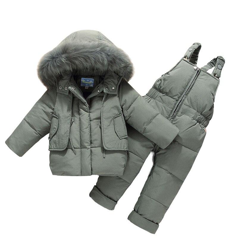 Зимняя детская одежда пуховое пальто для мальчиков и девочек Детский Теплый зимний комбинезон, верхняя одежда + комбинезон, комплект одежды, Детские Зимние куртки для русской зимы