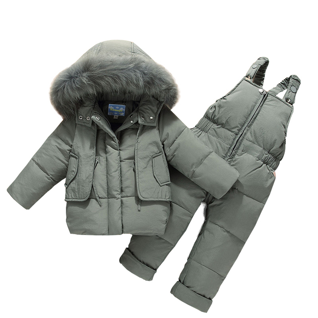 6a0267270b684e Roupa Dos Miúdos Das Meninas Meninos Para Baixo Crianças Casaco de inverno  Quente Snowsuit Casacos + Romper Conjunto Roupas casacos Inverno das ...
