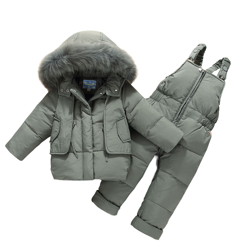 Winter Kids Clothes Girls Boys Down Coat Children Warm Snowsuit Outerwear +Romper Clothing Set Russian children's Winter jackets