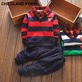 2017 criança crianças moda tarja bebê roupas meninos define conjuntos de roupas meninos crianças inverno esporte terno ajustado camisa cavalheiro 2 pcs