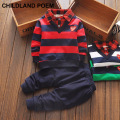 2017 toddler children fashion stripe baby boys clothing sets gentleman clothes sets boys winter kids sport suit set shirt 2pcs