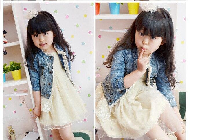 2017 Koreaanse stijl kinderen kinderen meisjes Cowboy jas denim jasje - Kinderkleding