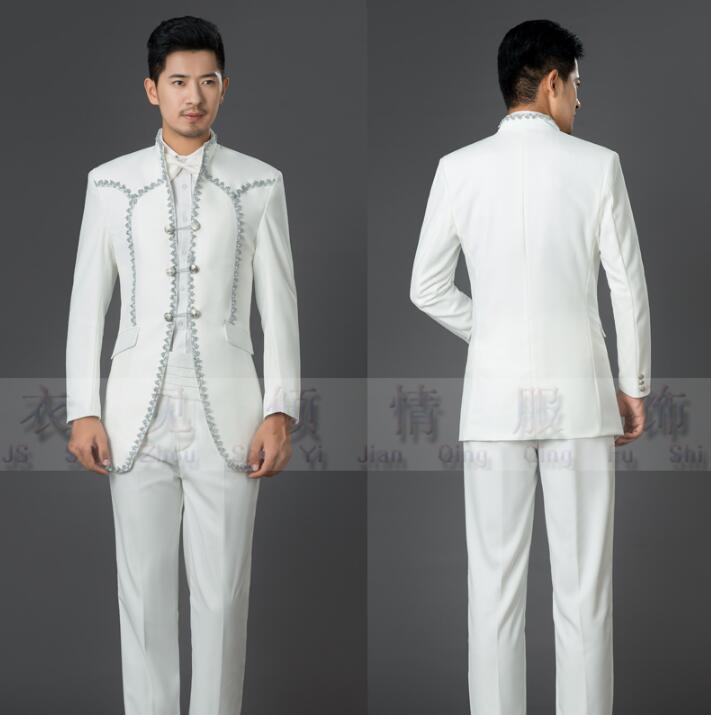 Diseños Traje Pantalón Vestido Blazer Última Boda Para Hombres Blanco Trajes  Pant Matrimonio Carga Formal Real ... a8a8206d7949