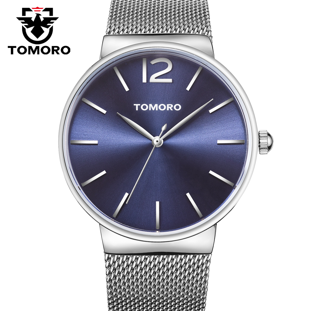 Fashion Top Luxury brand TOMORO Watches men Stainless Steel Mesh strap Quartz-watch Ultra Thin Dial Clock man relogio masculino new fashion brand round dial black couple watch men luxury stainless steel casual quartz watches relogio masculino clock hot