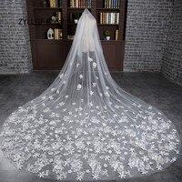 ZYLLGF Свадебные Роскошный Собор Покрывалами Длинные Свадебные Покрывалами Кружева Аппликации 3 М Velos Novia Cristal С Цветами BV29