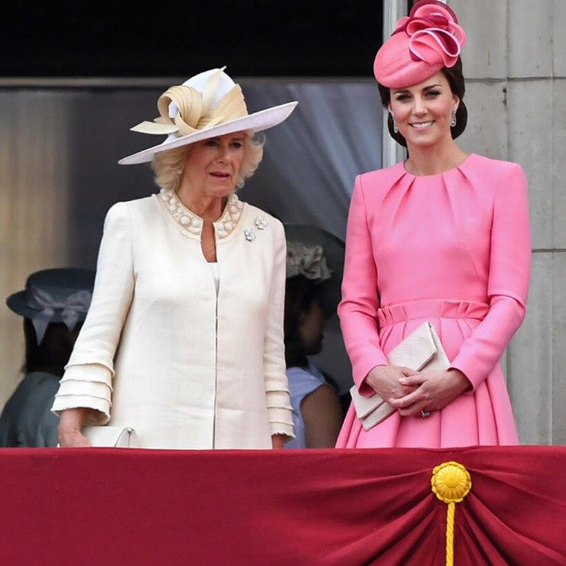 2019 Kate Middleton princesse rose robe de mode col rond à manches longues robes plissées