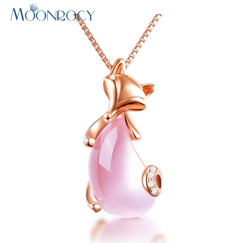 MOONROCY Drop Shipping Jewelry Wholesale Rose Gold Color Sex Fox Animal Ross Quartz Pink Opal Necklace for Women Girls Choker