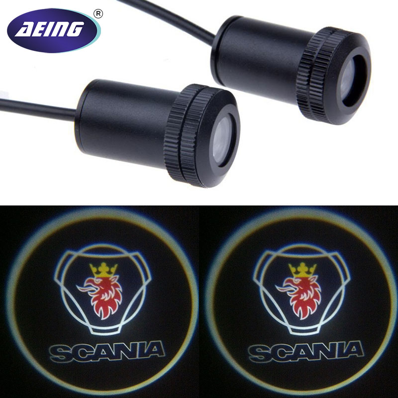 AEING 2*Ghost Shadow Logo welcome Car LED Door Light Laser Courtesy Slide Projector logo Emblem light For Tamiya Scania 1 pair auto brand emblem logo led lamp laser shadow car door welcome step projector shadow ghost light for audi vw chevys honda page 2