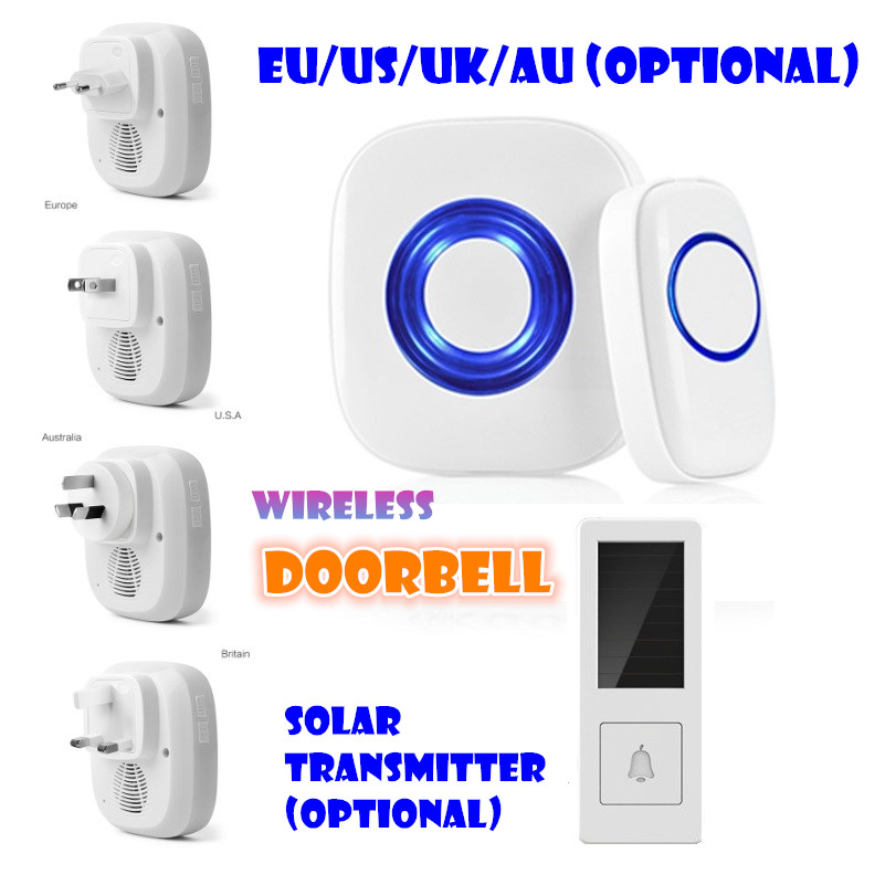Wireless Cordless Digital Doorbell Remote Door Bell Chime, Waterproof, EU/US/UK/AU Plug 110-220V cacazi wireless cordless doorbell remote door bell chime one button and two receivers no need battery waterproof eu us uk plug