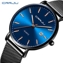Mens Watches CRRJU Top Brand Luxury Waterproof Wrist Ultra Thin Date Simple Casual Quartz Watch For Men Sports Clock