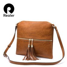 REALER crossbody bags for women brands shoulder messenger bags artificial leather purses and handbags female small bag tassel(China)
