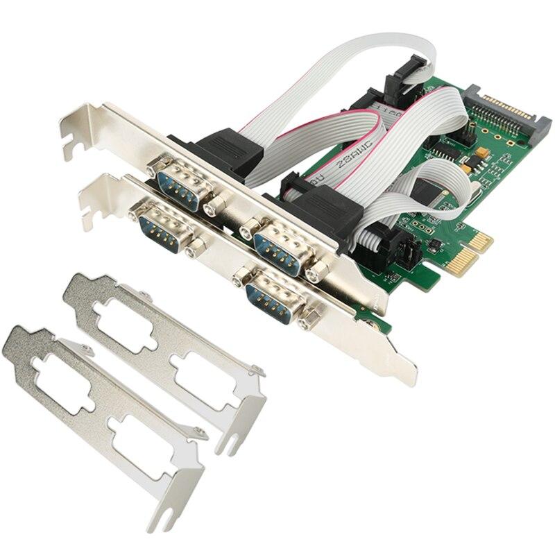 Carte série PCI express 4 ports de qualité industrielle PCI-e Multi RS232 DB9 COM 5VDC 12DV SATA alimentation externe WCH384L
