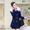 2016 autumn and winter women woolen jacket outerwear slim hooded large fur collar thickening medium-long wool coat and jacket