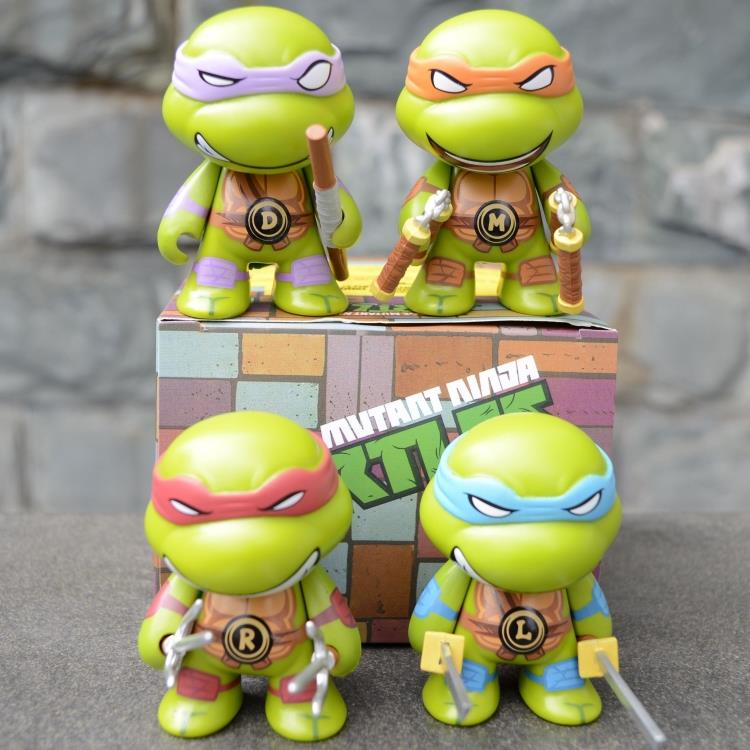 2014 NEW HOT 4 pieces set 12cm Anime Cartoon TMNT Teenage Mutant Ninja Turtles PVC Action