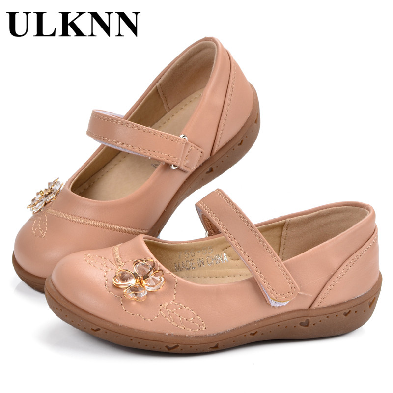 ULKNN Baby Girls Shoe Flowers Heart Embroidery Leather Newborn Rhinestones For Kids Baby Casual Shoes Spring Autumn Infants