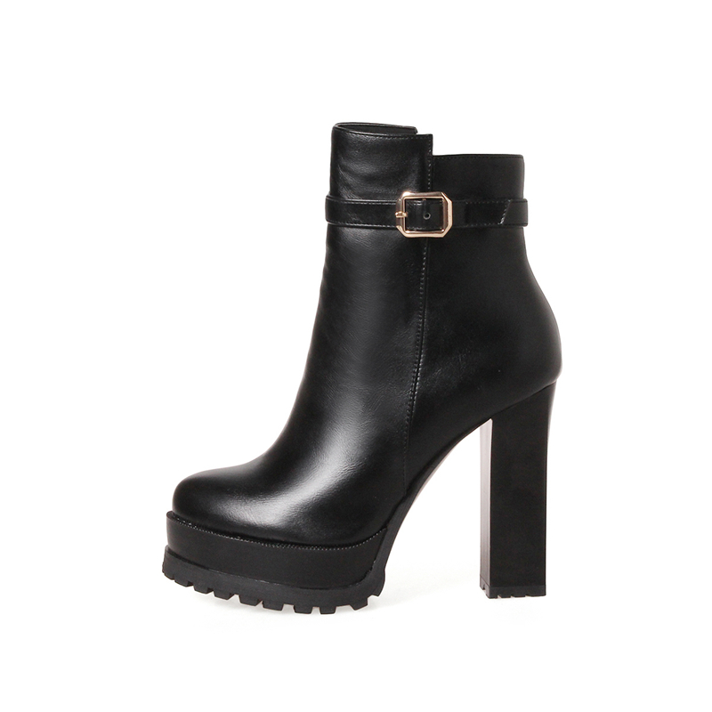Femmes Grandes 33 43 Nouveau Parti Boot 2018 Tailles Chaussures Offre Noir Carré Cheville Bottes Spéciale Mode Femme Doratasia Talons Noir rouge Haute 29WEHeIYD
