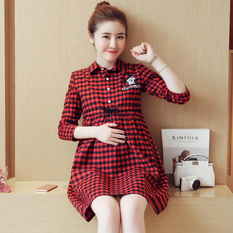 Spring Maternity Clothing Preppy Style Pregnancy Dress Maternity Clothes Of Pregnant Women Fashion Long Sleeve Dresses